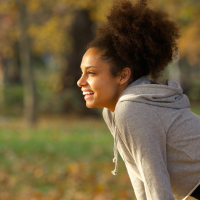 woman happy from exercising